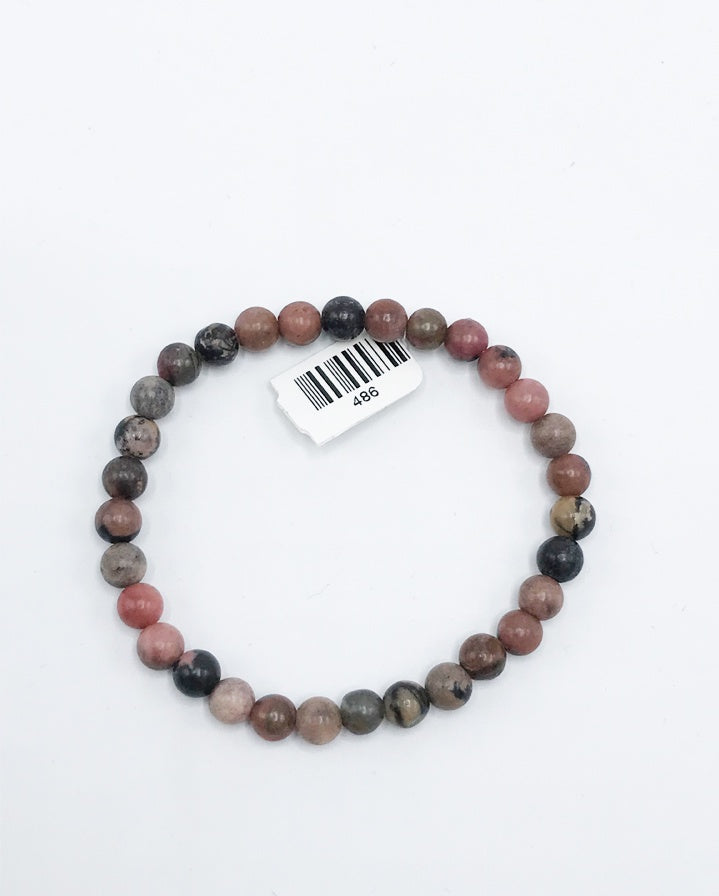Rhodonite Bead (Stretch) Bracelet - Zero Point Crystals