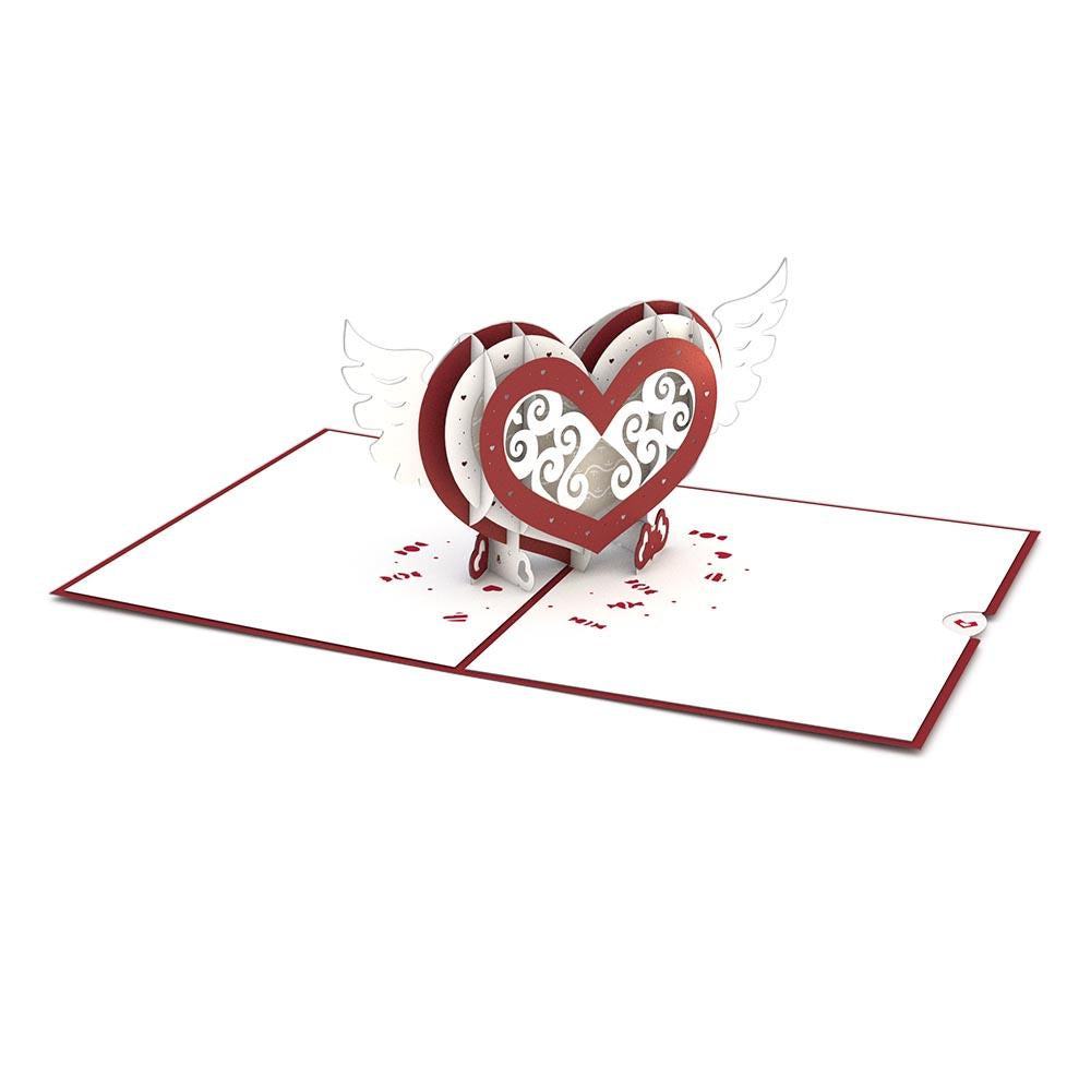 Winged Heart Classic Pop Up Card - Zero Point Crystals
