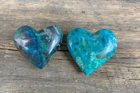 Chrysocolla Hearts - Zero Point Crystals