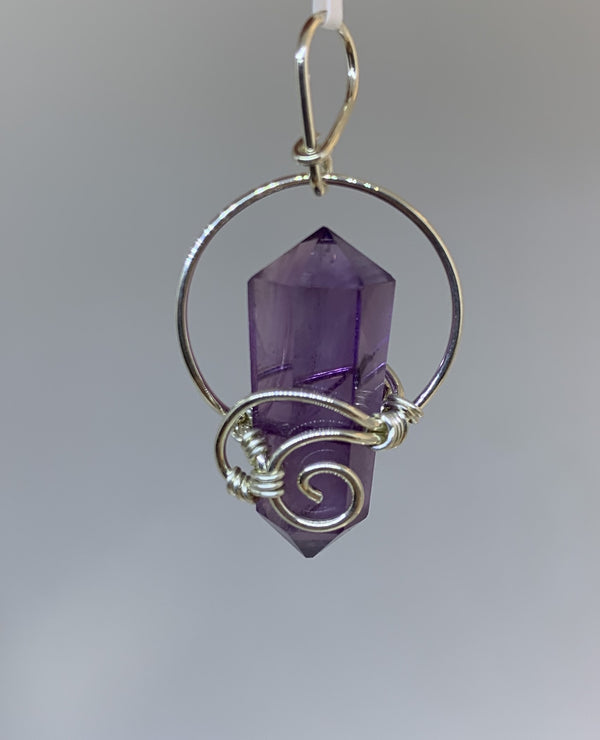 Amethyst Wire Wrap Pendant - Zero Point Crystals