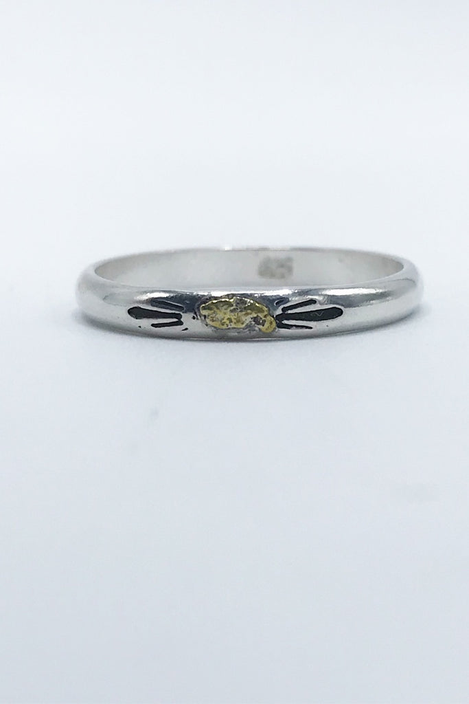 Gold Nugget Sterling Silver Band - Zero Point Crystals