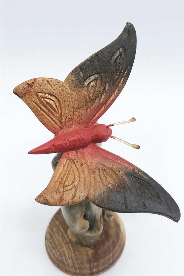 Butterfly Wood Carving (Painted) - Zero Point Crystals
