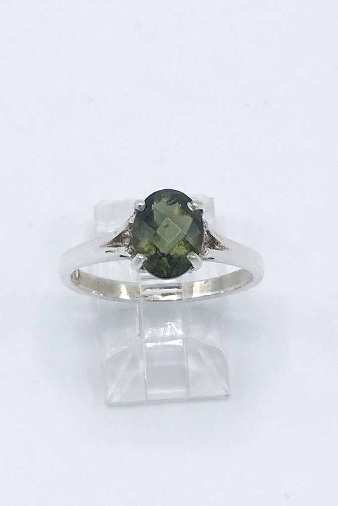 Moldavite Faceted Oval Ring - Zero Point Crystals