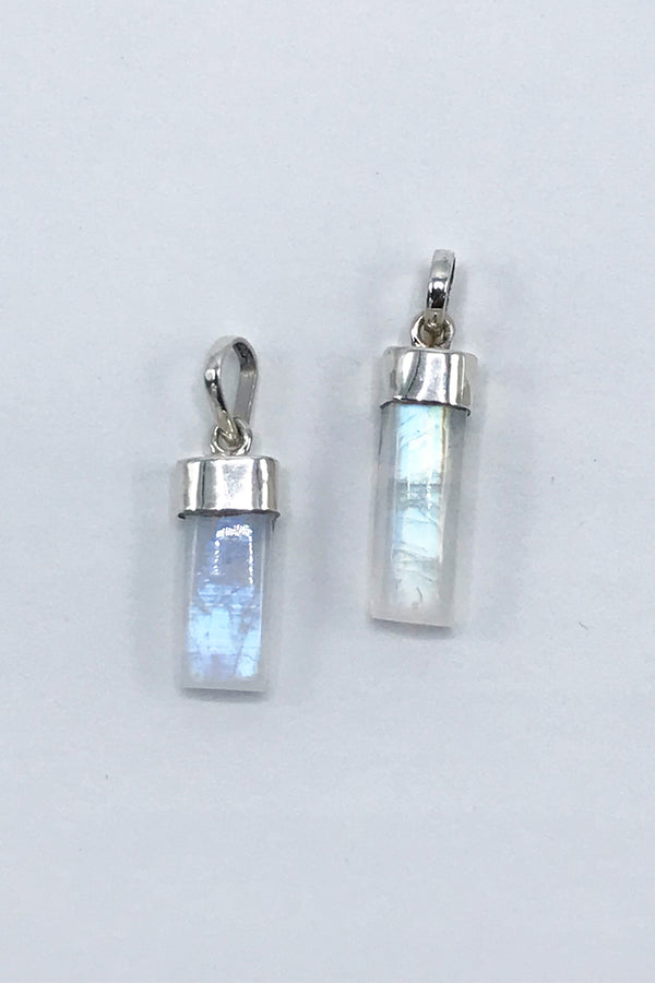 Rainbow Moonstone Barrel Pendant - Zero Point Crystals