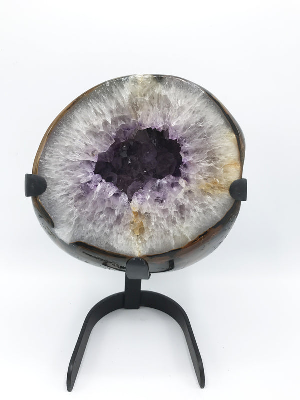 Agate Geode on Stand (#1068) - Zero Point Crystals