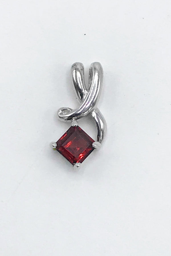Idaho Garnet Offset Square Pendant - Zero Point Crystals