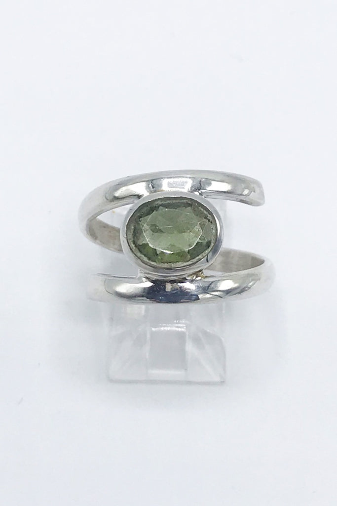 Moldavite Faceted Oval Split Ring - Zero Point Crystals
