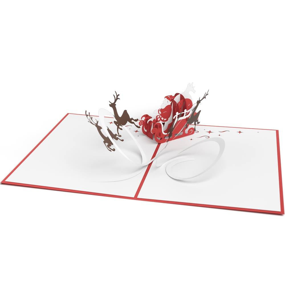 Santa Sleigh Classic Pop-Up Card - Zero Point Crystals
