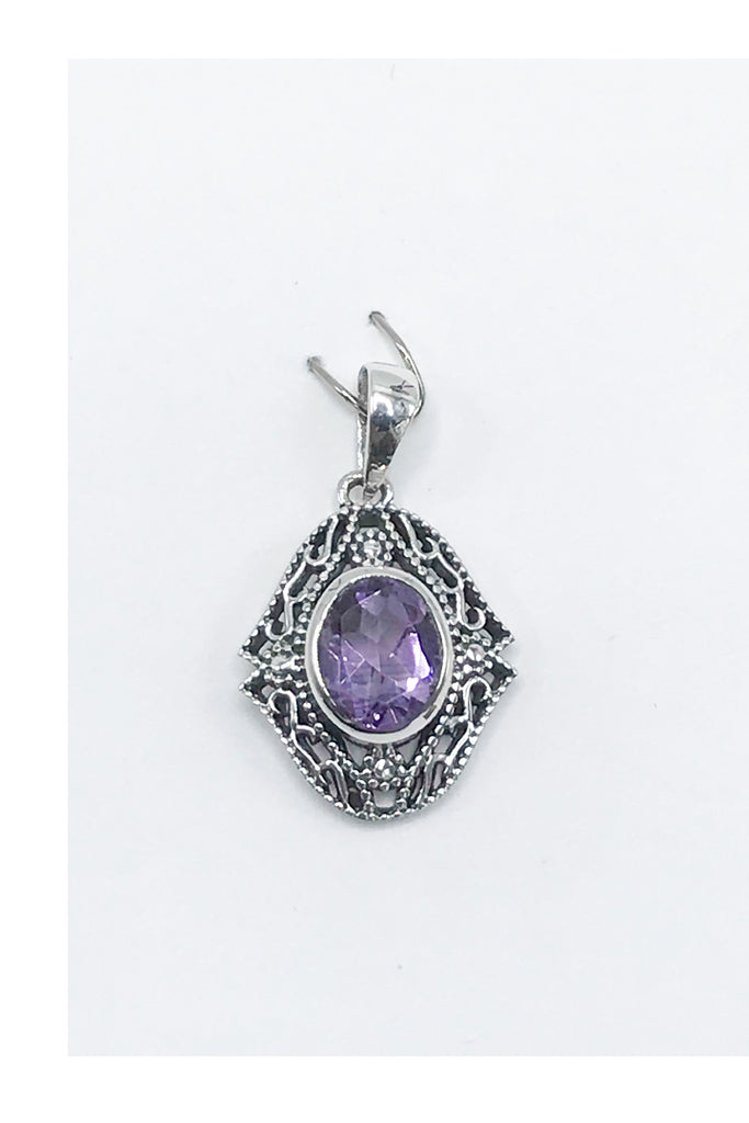 Filigree Natural Stone Pendant - Zero Point Crystals
