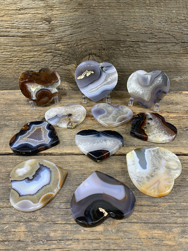 "Agate Heart 3-4"" - Zero Point Crystals"