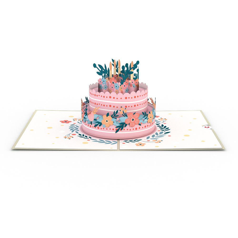 Floral Birthday Cake Pop Up Card - Zero Point Crystals