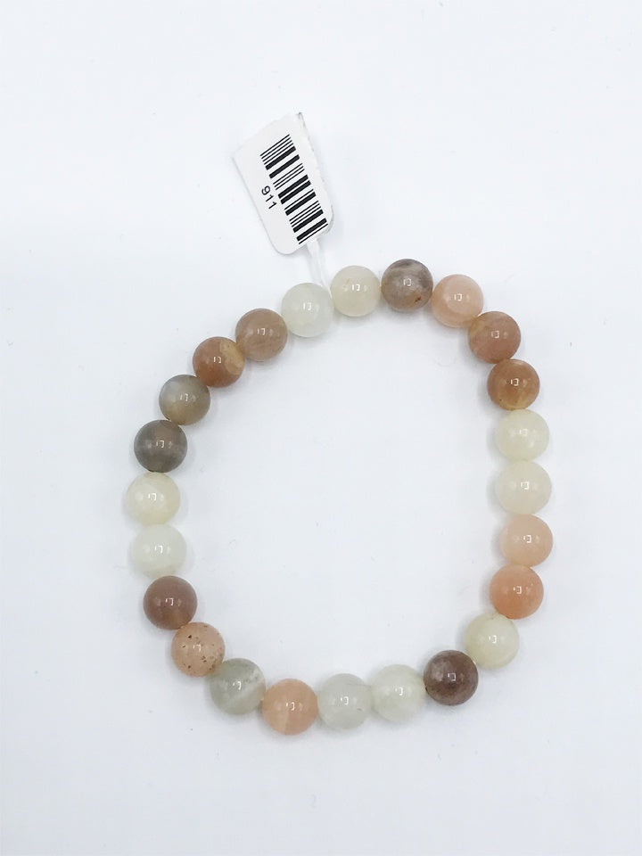 Tri-color Moonstone Stretch Bracelet - Zero Point Crystals