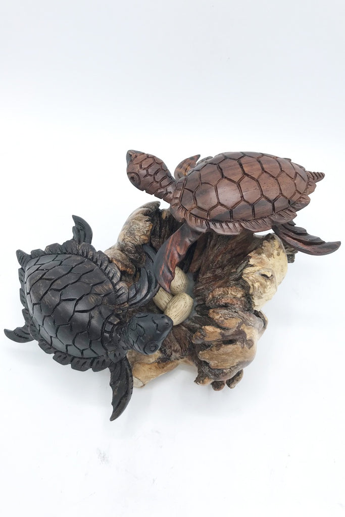 Sea Turtle on Burl (Double) - Zero Point Crystals