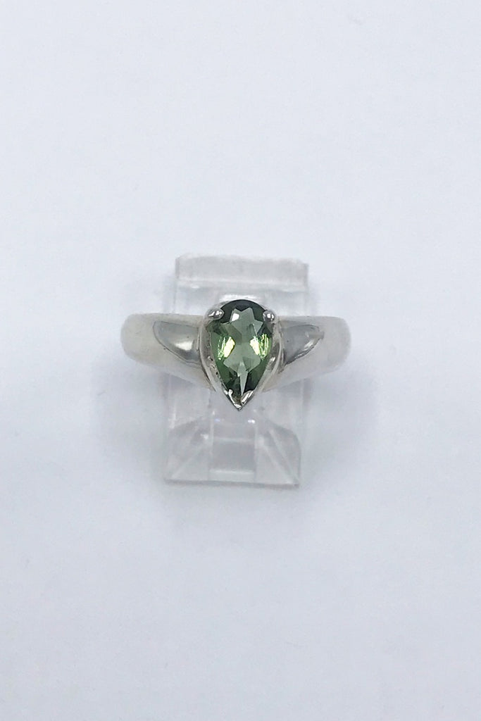 Faceted Moldavite Pear Ring - Zero Point Crystals
