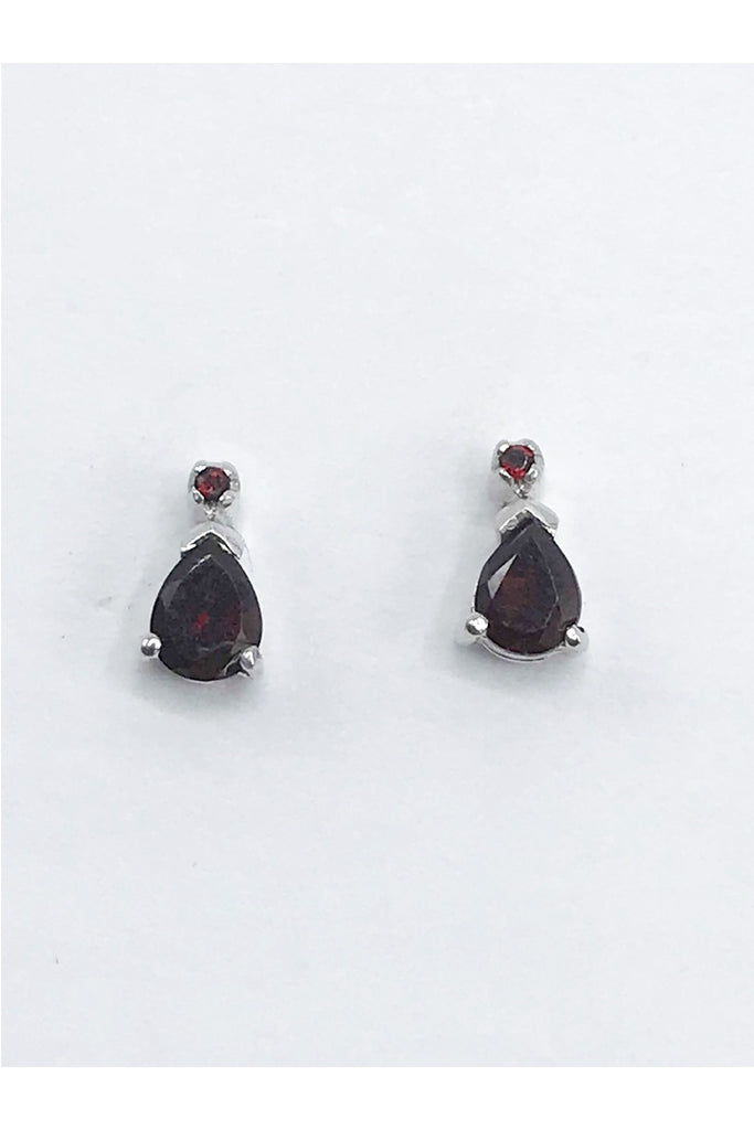 Idaho Garnet Teardrop Post Earrings - Zero Point Crystals