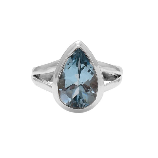 Sterling Silver Teardrop Faceted Blue Topaz Ring - Zero Point Crystals