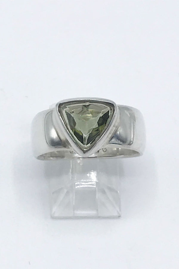 Faceted Moldavite Triangle Ring - Zero Point Crystals