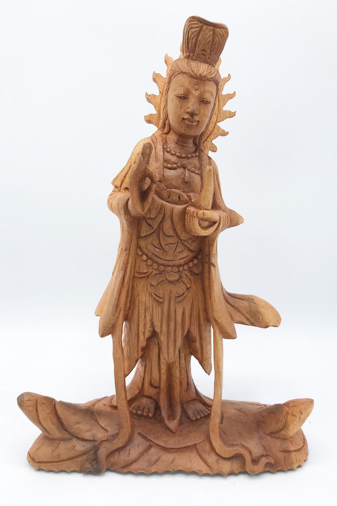 Quan Yin Wood Statue - Zero Point Crystals