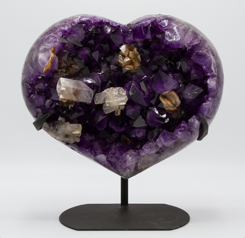 Amethyst Heart with Calcite - Zero Point Crystals