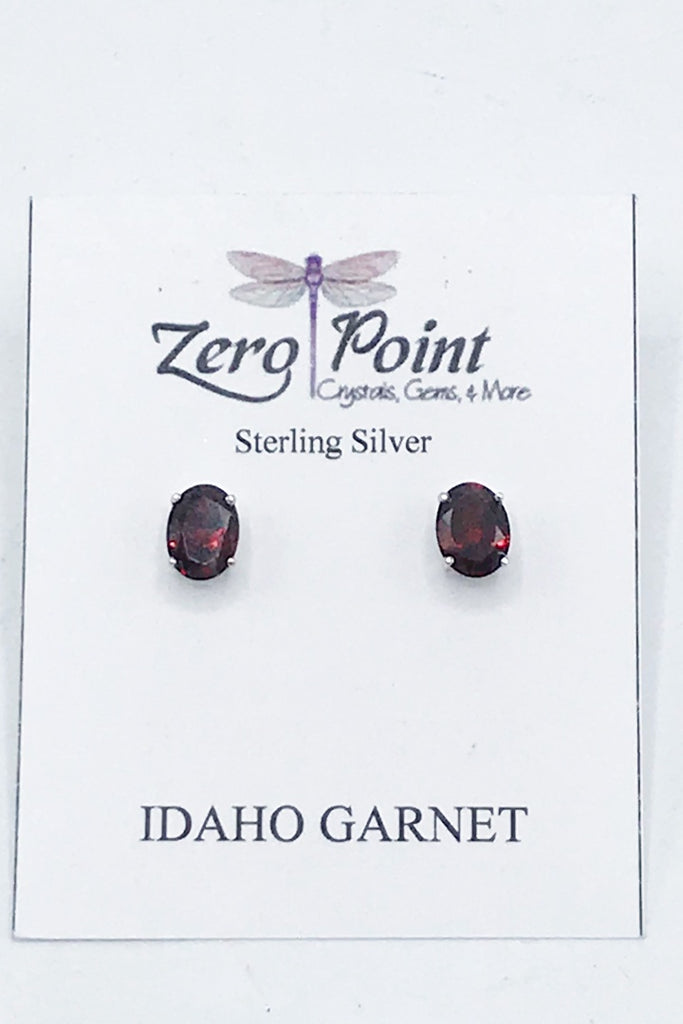 Idaho Garnet Oval Post Earrings - Zero Point Crystals