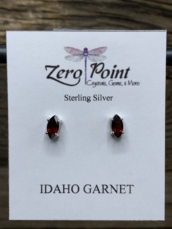 Idaho Garnet Marquis Post Earrings - Zero Point Crystals