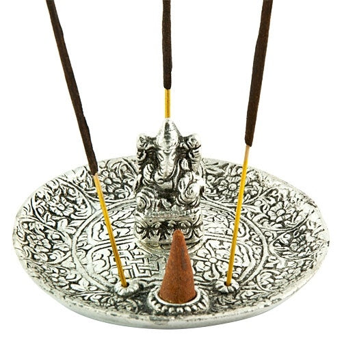 Ganesh Carved Aluminum Incense Burner - Zero Point Crystals