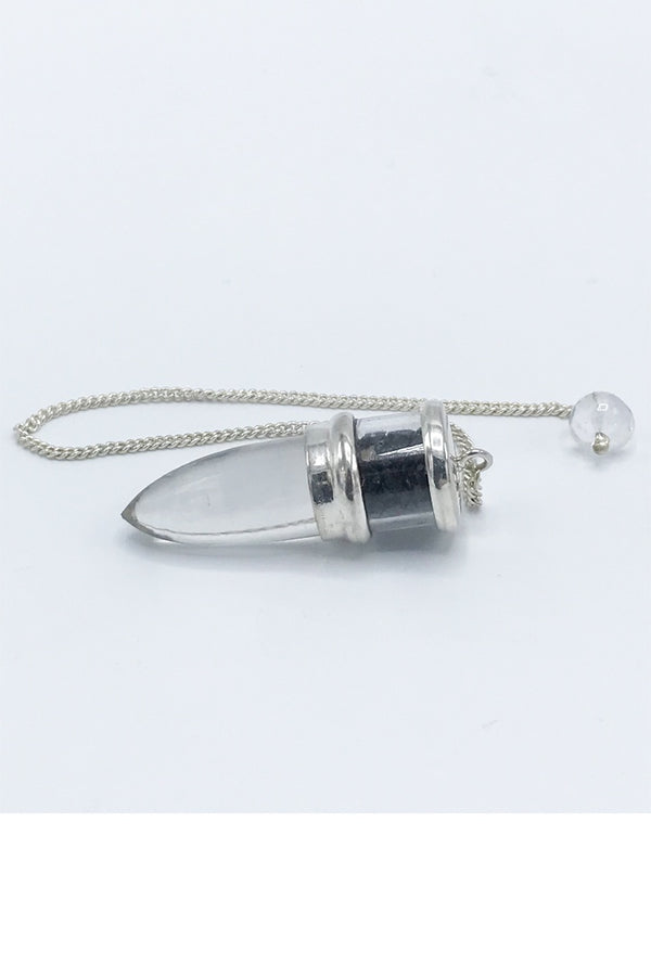 Quartz and Black Tourmaline Pendulum - Zero Point Crystals