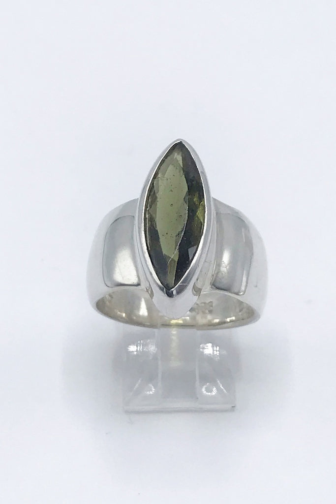 Faceted Moldavite Marquis Ring - Zero Point Crystals