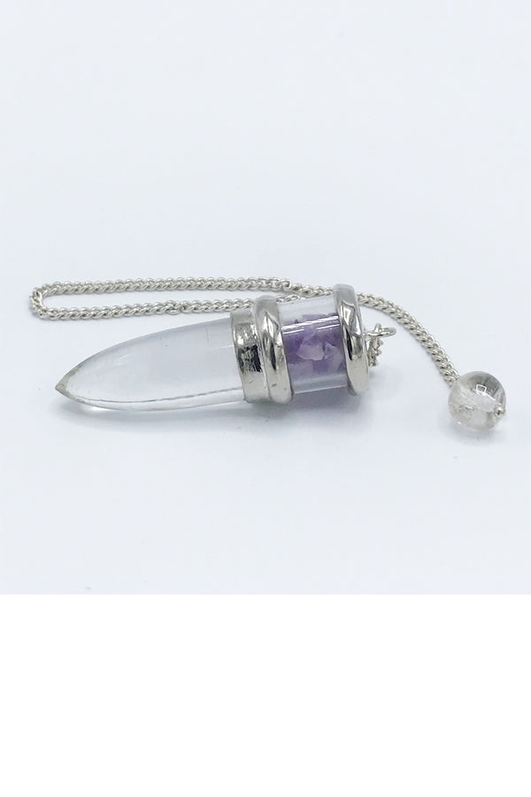 Amethyst and Quartz Pendulum - Zero Point Crystals