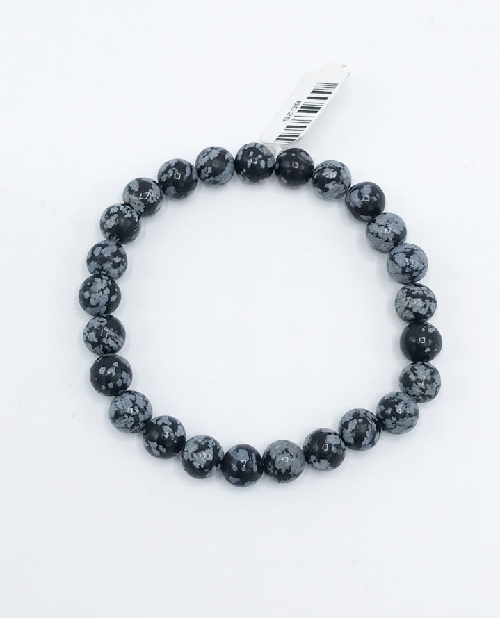 Snowflake Obsidian Bead (Stretch) Bracelet - Zero Point Crystals