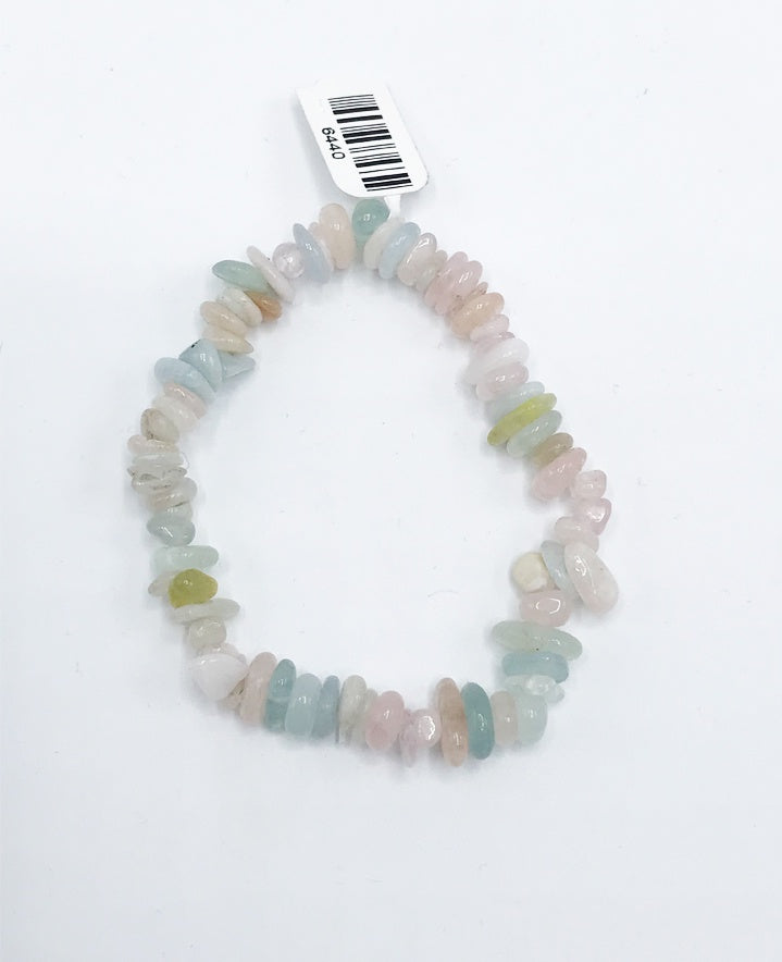 Aquamarine & Morganite Bead (Stretch) Bracelet - Zero Point Crystals