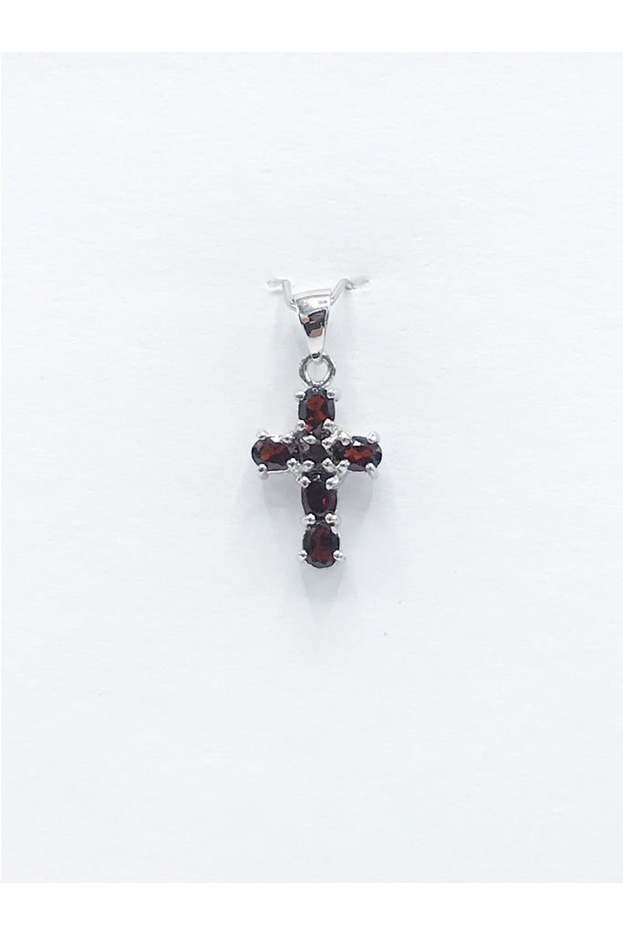 Idaho Garnet Cross Pendant, 22mm - Zero Point Crystals