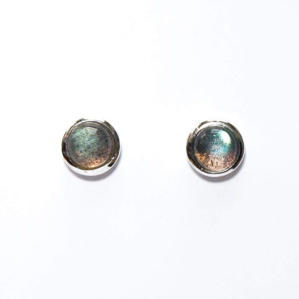 Labradorite Cab Stud Earrings - Zero Point Crystals