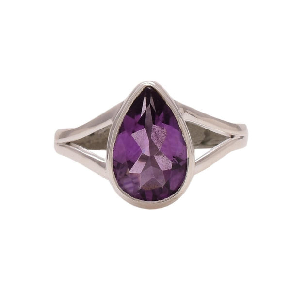 Sterling Silver Teardrop Faceted Amethyst Ring - Zero Point Crystals