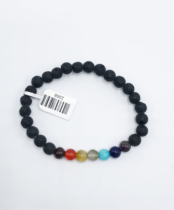 Lava Stone Chakra Stretch Bracelet - Zero Point Crystals