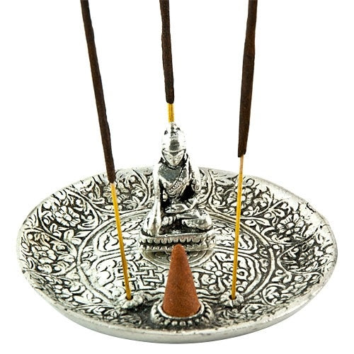 Buddha Carved Aluminum Incense Burner - Zero Point Crystals