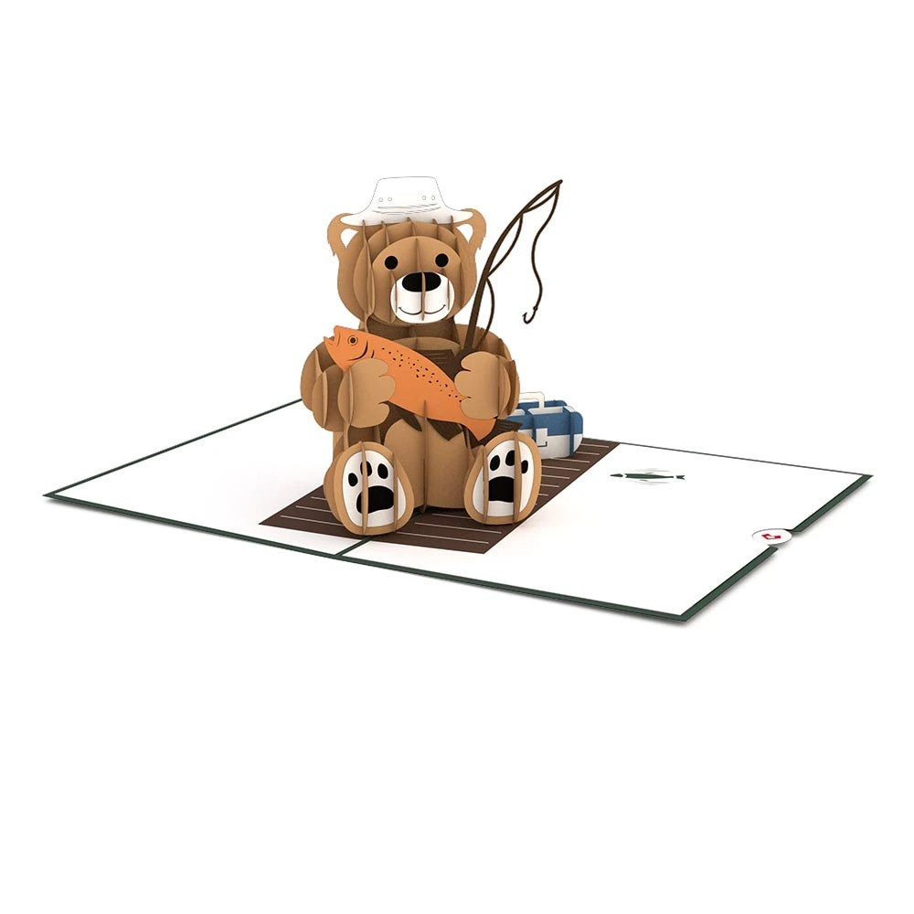 Fishing Bear Pop Up Card - Zero Point Crystals