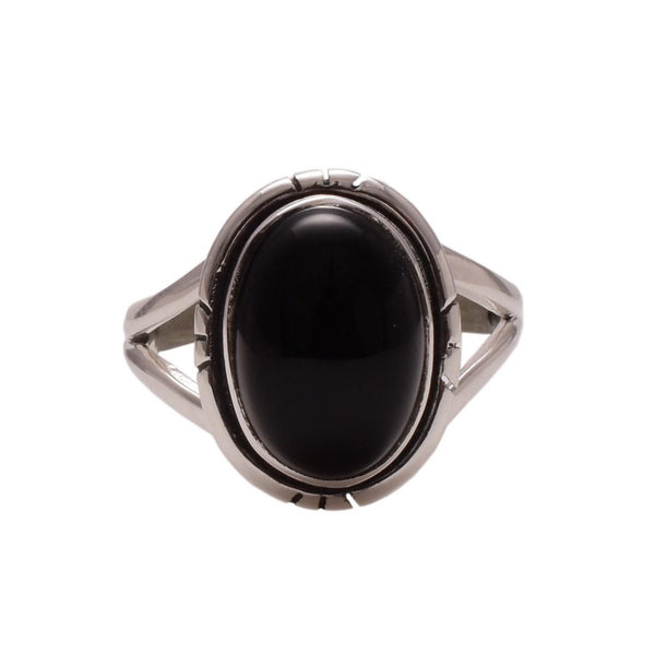 Sterling Silver Oval Black Onyx Ring - Zero Point Crystals