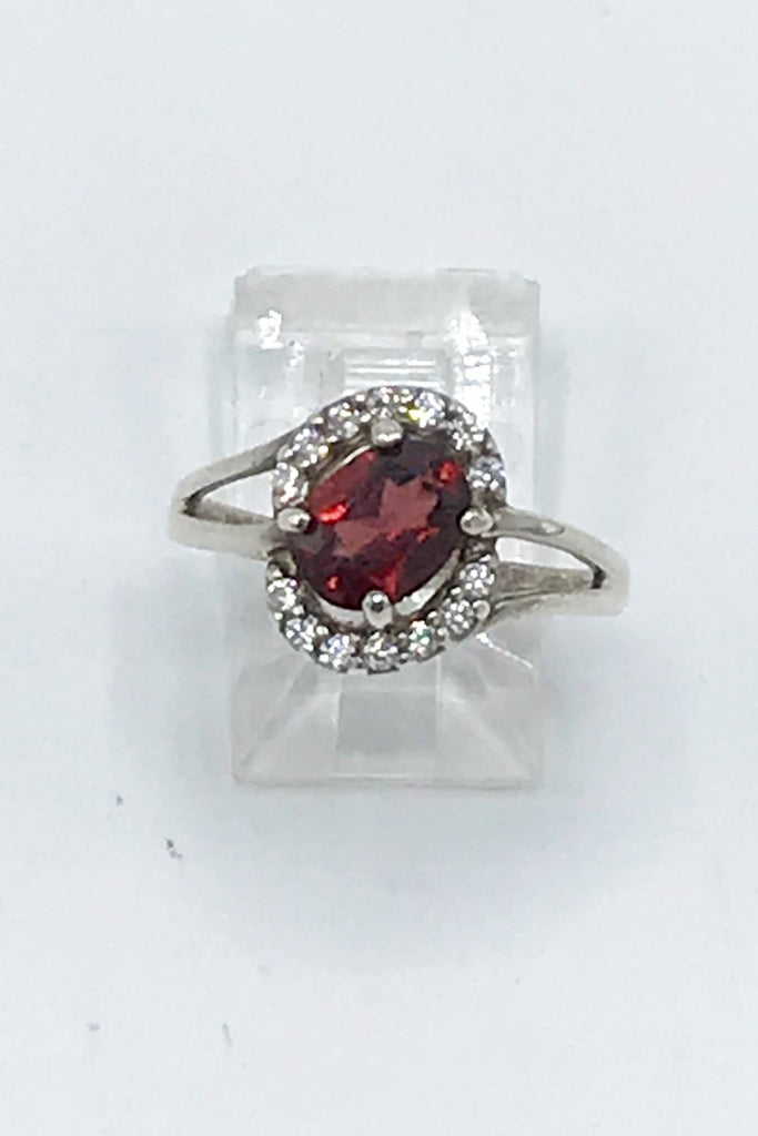 Idaho Garnet and CZ Ring - Zero Point Crystals