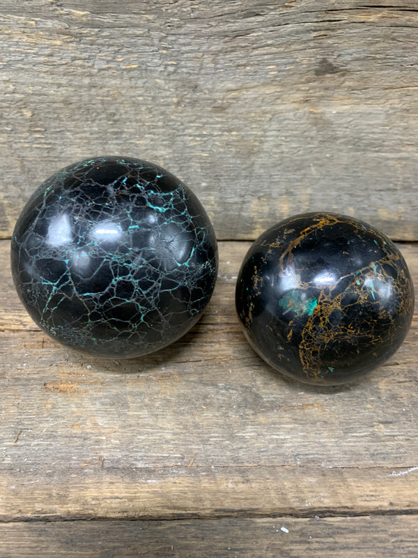 Black Tourmaline with Chrysocolla Sphere - Zero Point Crystals