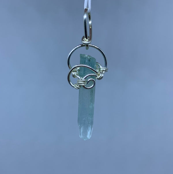 Aquamarine wire Wrapped Pendant - Zero Point Crystals