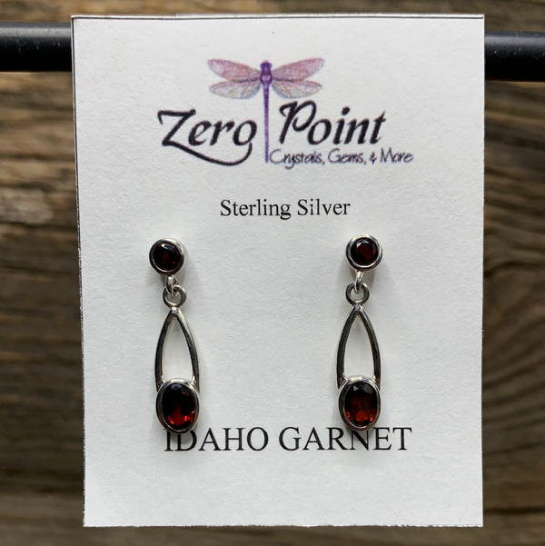 Idaho Garnet Post Dangle Earrings - Zero Point Crystals