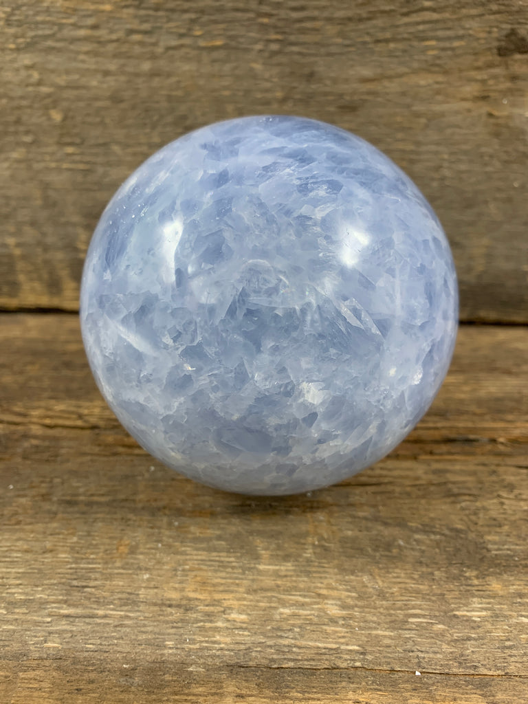 Blue calcite Sphere - Zero Point Crystals