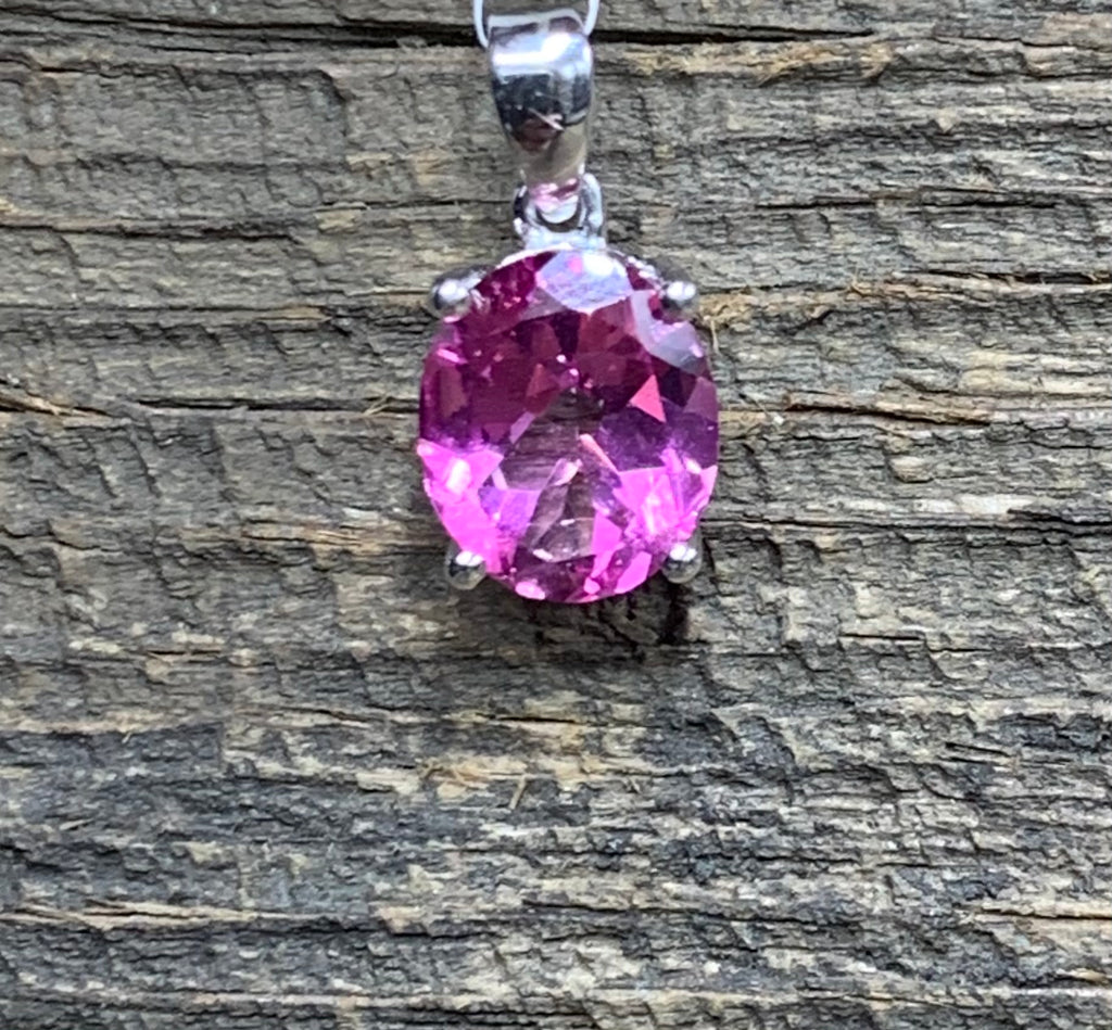 Pink Topaz Oval Pendant - Zero Point Crystals