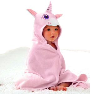 baby girl wearing unicorn face hooded towel