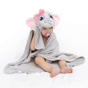 baby wearing elephant face hooded towel after bath
