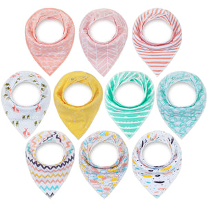 10-Pack Upsimples Bandana Bibs Baby Drool Bibs for Drooling and Teething, Organic Cotton, Ripple Set