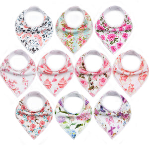 floral print bandana bibs for girls