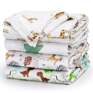 4-Pack Muslin Swaddle Blankets (Mix)