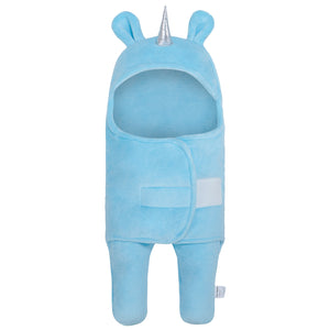 Unicorn Swaddle Wrap Baby Sleeping Bag | Light Blue (0-6 Months)